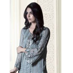 PS Enterprise Faux Georgette Grey Unstitched Suit