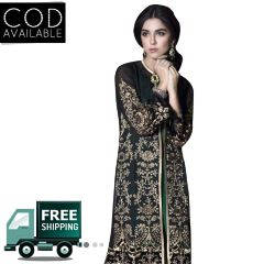 PS Enterprise Faux Georgette Black-Green Unstitched Suit