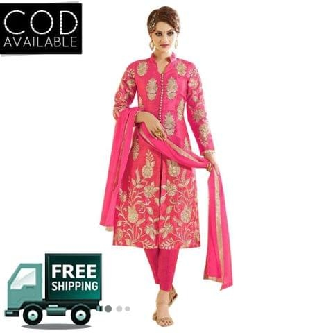 PS Enterprise Pink Georgette Unstitched Suit
