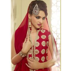 PS Enterprise Red Georgette Unstitched Suit