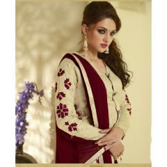 PS Enterprise Maroon-Cream Georgette Unstitched Suit