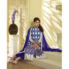 PS Enterprise White-Blue Georgette Unstitched Suit