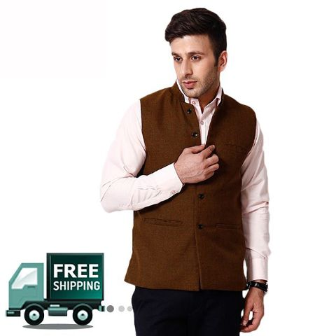 KP Men's Solid Brown Nehru Jacket