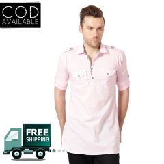 KP Men's Casual Pink Pathani Kurta