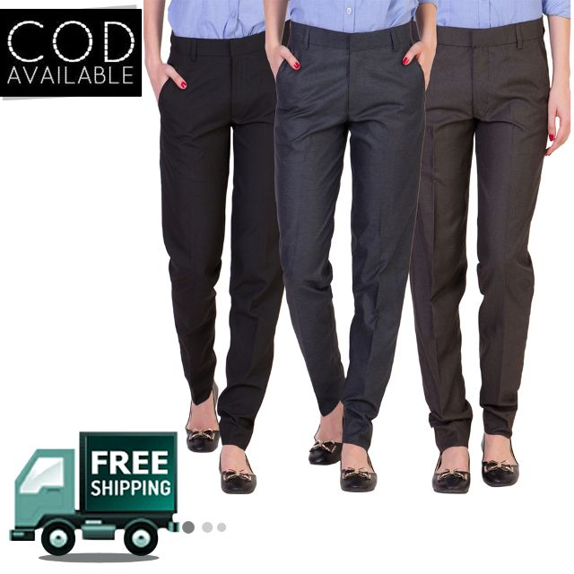 American-Elm Women's Formal Office Trousers-Pack of 3