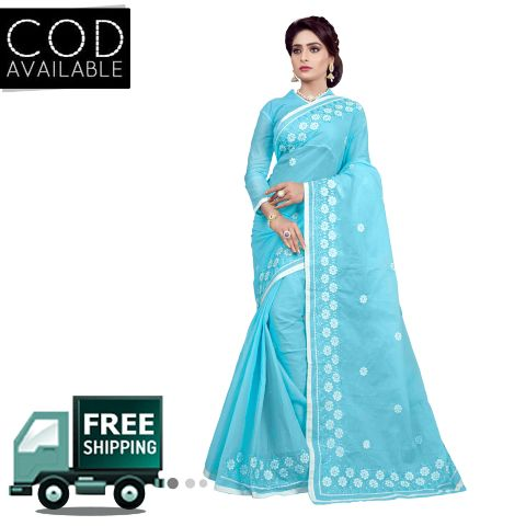 Ethnic Basket Sky Blue Traditional Wear Cotton Saree