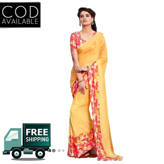 Swaraaa Yellow Faux Georgette Printed Saree