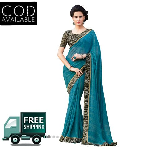 Swaraaa Blue Faux Georgette Printed Saree