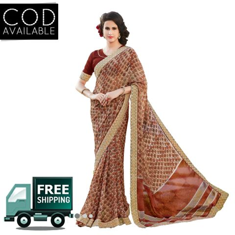 Swaraaa Brown Faux Georgette Printed Saree