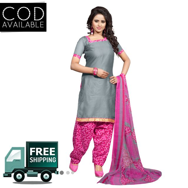 Ethnic Basket Grey Glace Cotton Printed Dress Material