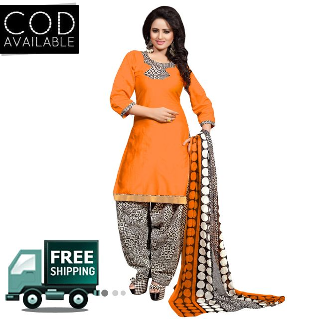 Ethnic Basket Orange Glace Cotton Printed Dress Material