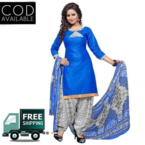 Ethnic Basket Blue Glace Cotton Printed Dress Material