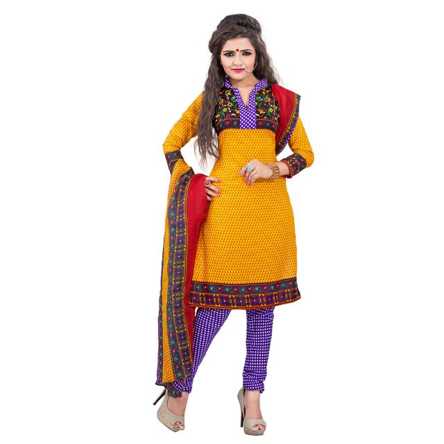 Ethnic Basket Yellow Cotton Printed Dress Material