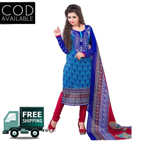 Ethnic Basket Blue Cotton Printed Dress Material