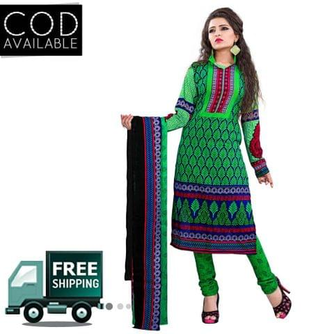 Ethnic Basket Green Cotton Printed Dress Material