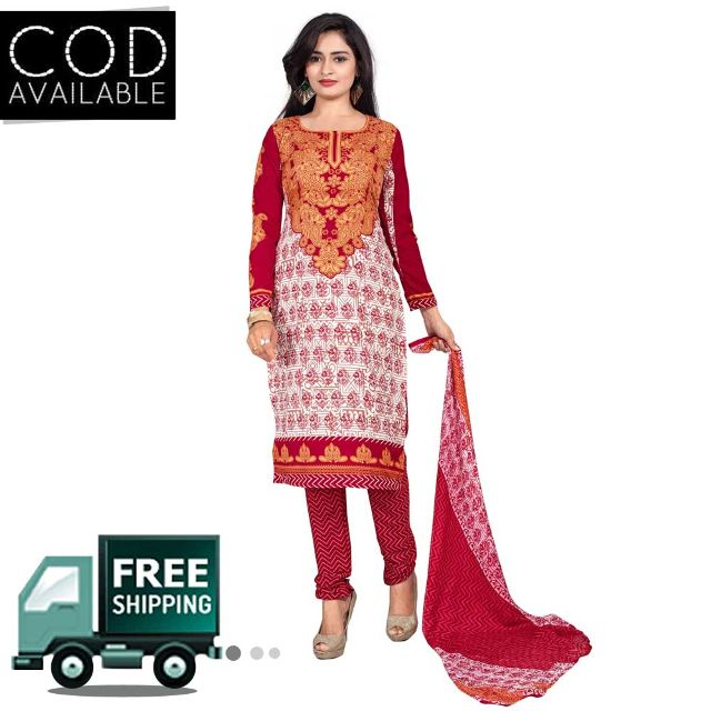 Ethnic Basket White & Red American Crepe Printed Dress Material