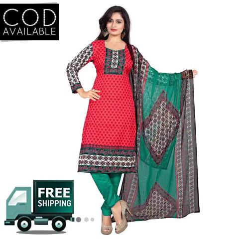 Ethnic Basket Red American Crepe Printed Dress Material