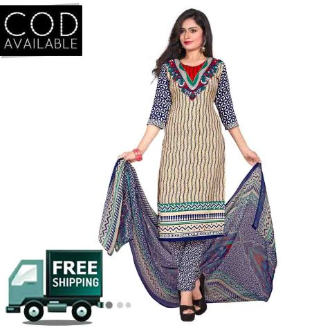 Ethnic Basket Cream & Blue American Crepe Printed Dress Material