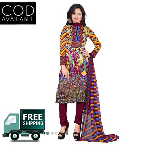 Ethnic Basket Multi Color American Crepe Printed Dress Material