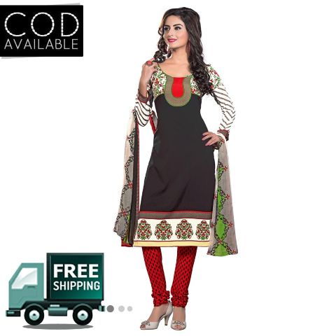 Ethnic Basket Black American Crepe Printed Dress Material
