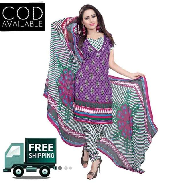 Ethnic Basket Purple American Crepe Printed Dress Material
