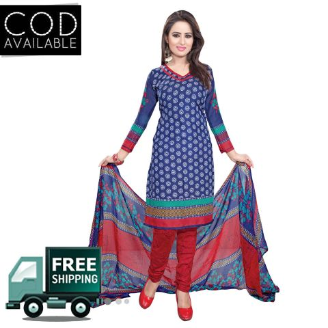Ethnic Basket Blue American Crepe Printed Dress Material