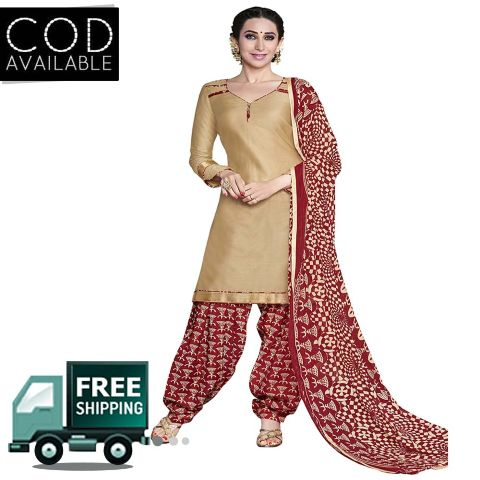 Ethnic Basket Cream Glace Cotton Printed Dress Material