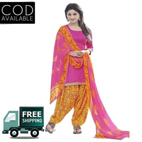 Ethnic Basket Pink Glace Cotton Printed Dress Material