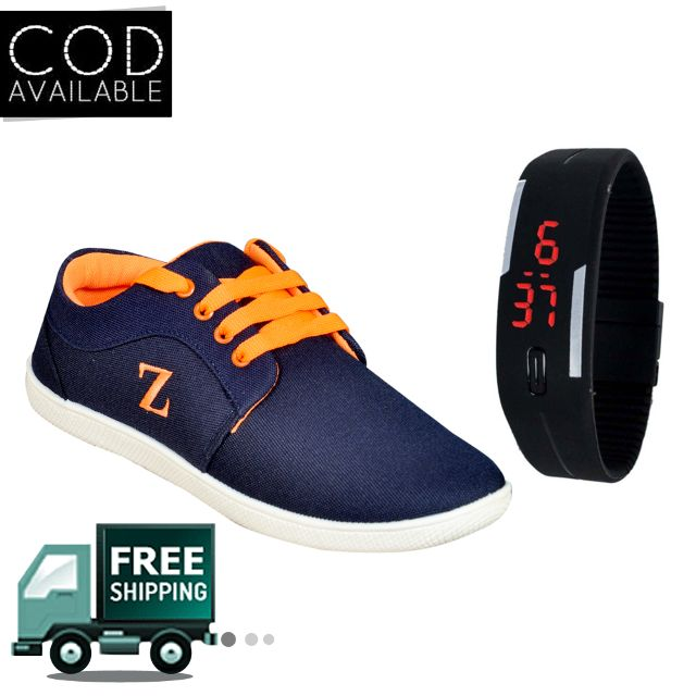 Delux Look Branded Synthetic Leather Casual Shoes With Watch