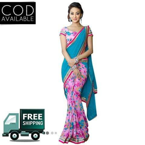 Swaraaa Pink Georgette Printed Saree With Bhagalpuri Blouse Piece