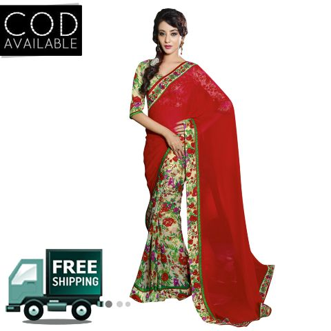 Swaraaa Red Georgette Checks Printed Saree With Bhagalpuri Blouse Piece