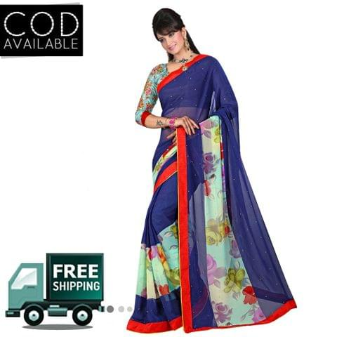Swaraaa Printed Blue Georgette Saree With Blouse Piece
