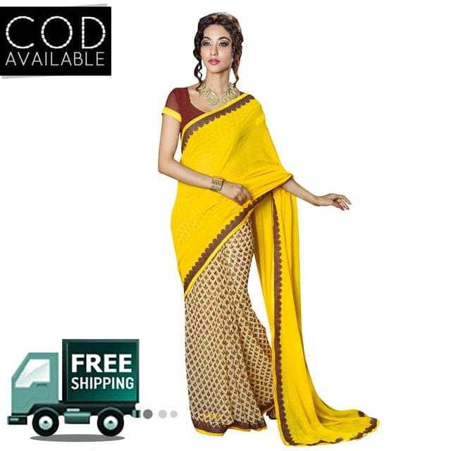Swaraaa Yellow Georgette Printed Saree With Bhagalpuri Blouse Piece