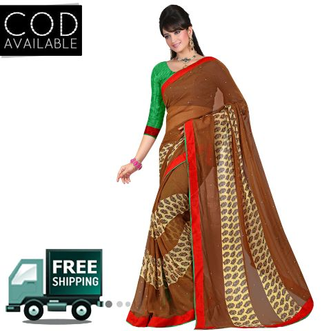 Swaraaa Printed Brown Georgette Saree With Blouse Piece