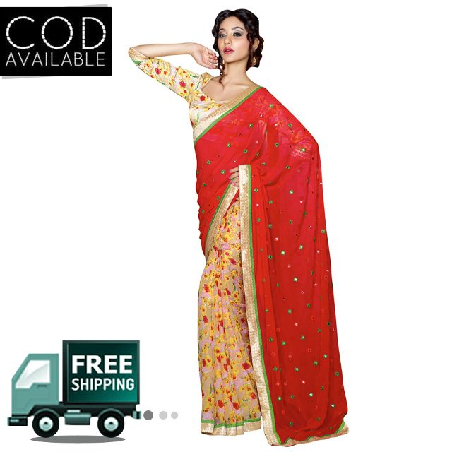 Swaraaa Red Georgette Printed Saree With Bhagalpuri Blouse Piece