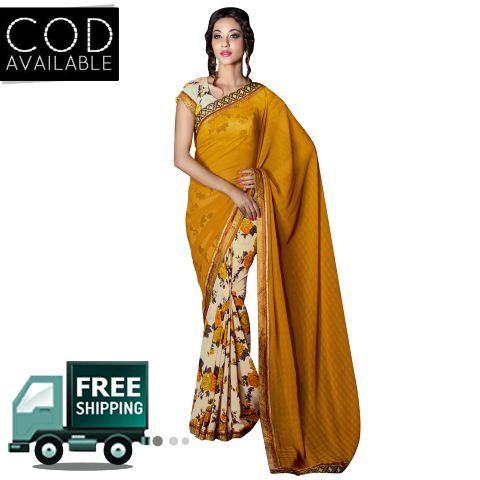 Swaraaa Brown Georgette Printed Saree With Bhagalpuri Blouse Piece