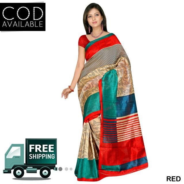 Swaraaa Printed Chapa Silk Saree With Blouse Piece