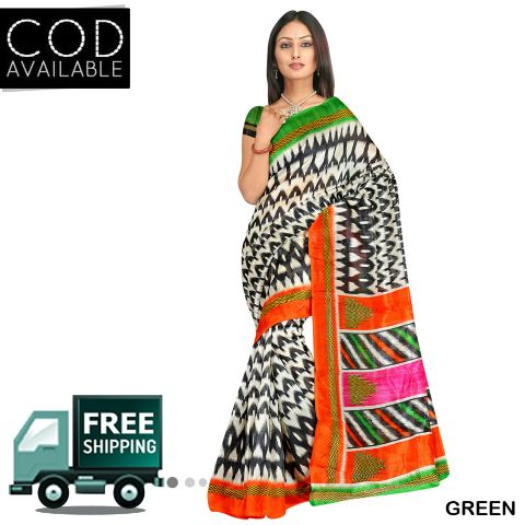 Swaraa Printed Chapa Silk Saree With Blouse Piece