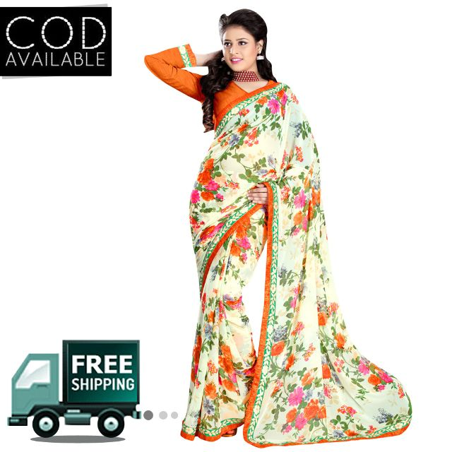 Swaraaa Off White Royal Georgette Saree With Blouse Piece