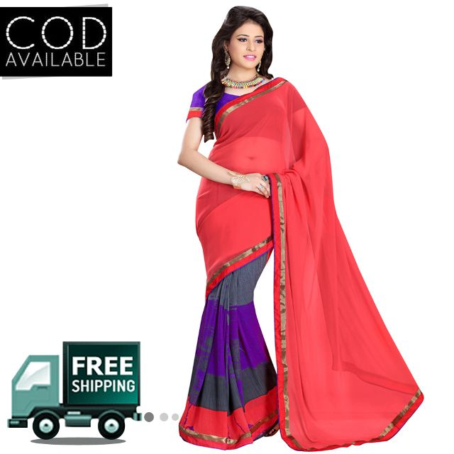 Swaraaa Red Royal Georgette Saree With Blouse Piece