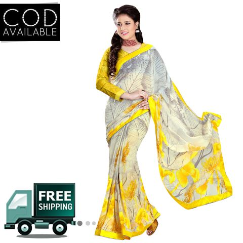 Swaraaa Yellow Royal Georgette Saree With Blouse Piece