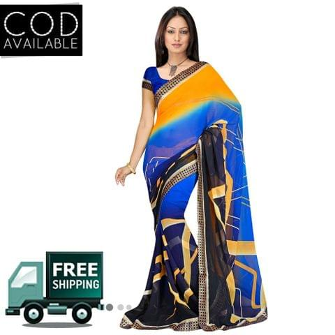 Swaraaa Blue Georgette Printed Saree With Blouse Piece