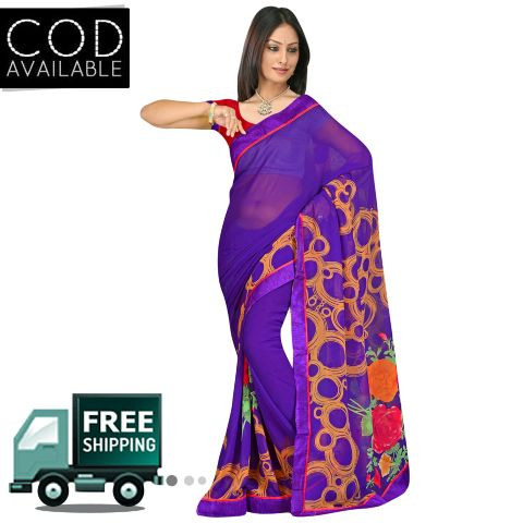 Swaraaa Purple Georgette Printed Saree With Blouse Piece