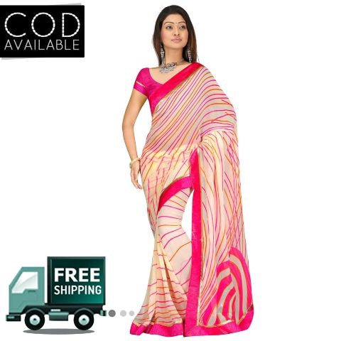 Swaraaa Pink Georgette Printed Saree With Blouse Piece