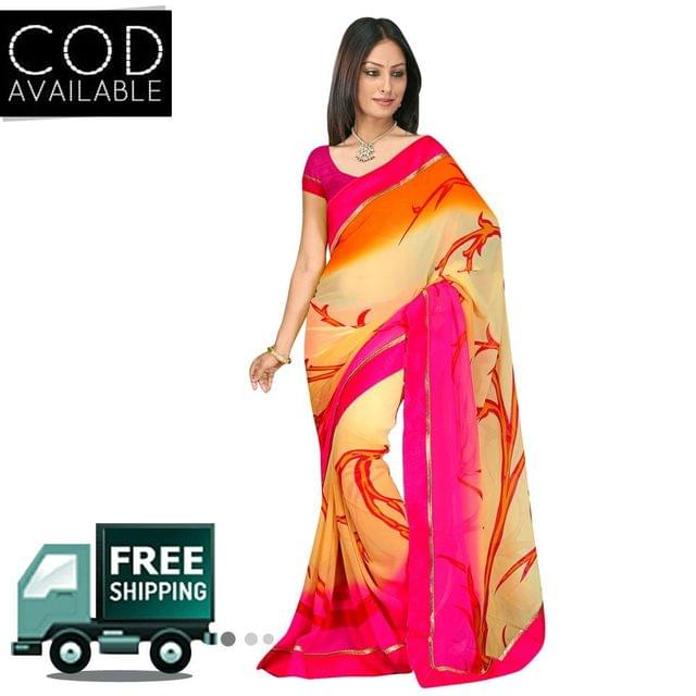 Swaraaa Off White Georgette Printed Saree With Blouse Piece