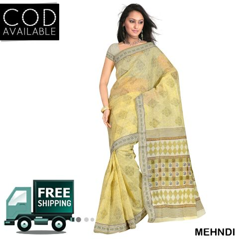 Swaraaa Gadwal Cotton Printed Saree With Blouse Piece