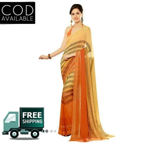 Swaraaa Orange Georgette Printed Saree With Blouse Piece
