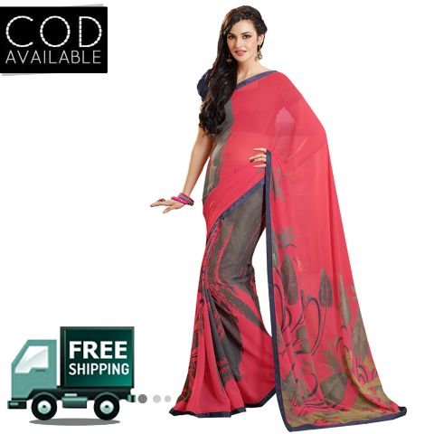 Swaraaa Red Georgette Printed Saree With Blouse Piece