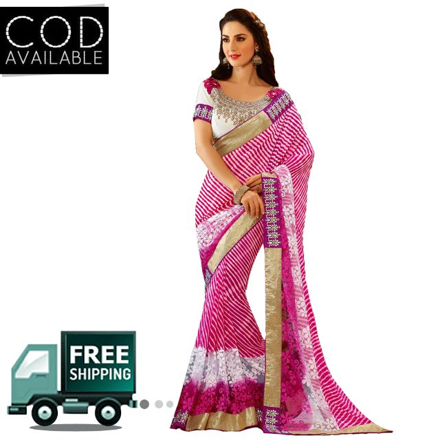 Swaraaa Pink Georgette Printed Saree With Dhupian Blouse Piece