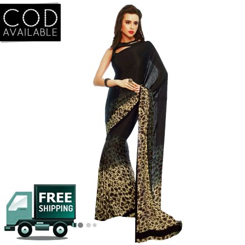 Swaraaa Black Crape Silk Printed Saree With Blouse Piece